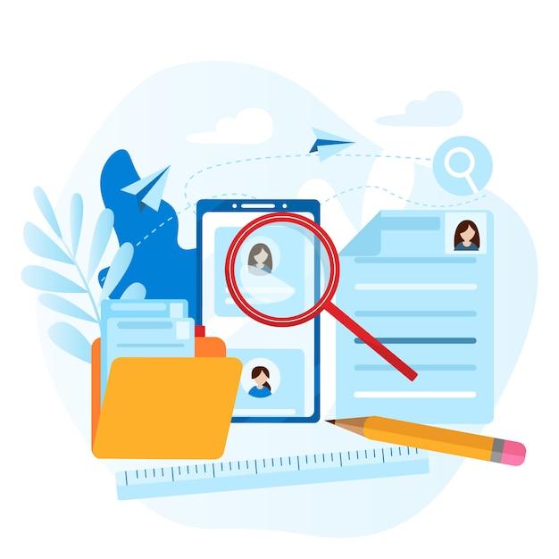 従業員の個人ファイル人事、選択、キャリア、雇用、履歴書、求人の概念 Premiumベクター