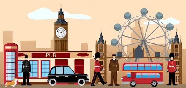 イギリスとロンドンのアイコンセット。 Premiumベクター