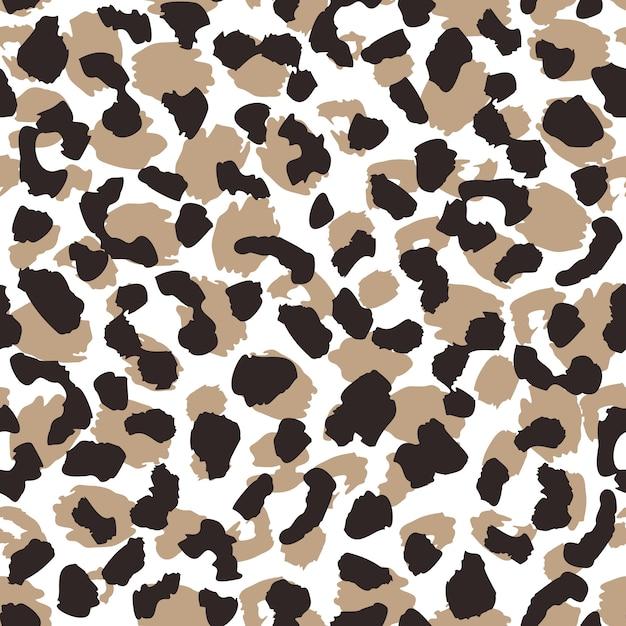 抽象的なヒョウ肌のシームレスなパターン。動物の毛皮の壁紙。野生のアフリカの猫はイラストを繰り返します。 Premiumベクター
