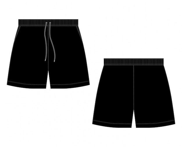 テクニカルスケッチ黒のスポーツショーツ白背景 Premiumベクター