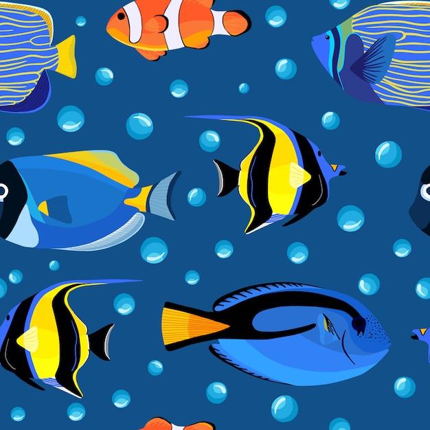 抽象的な海中シームレスパターン。泡と水中の魚。 Premiumベクター