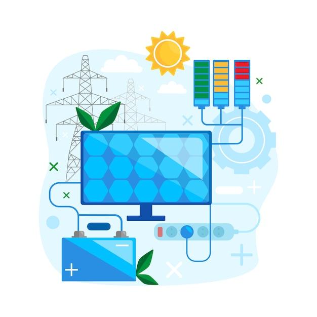 太陽エネルギーの概念設計代替再生可能エネルギーを安全に使用します。太陽電池パネルのグリーンエネルギーフラットのベクトル図 Premiumベクター