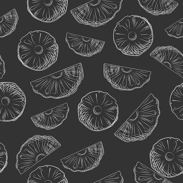 パイナップルフルーツスライスは、シームレスなパターンをスケッチします。エキゾチックなトロピカルフルーツの背景。 Premiumベクター