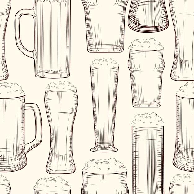 完全なビールジョッキシームレスパターン。 Premiumベクター