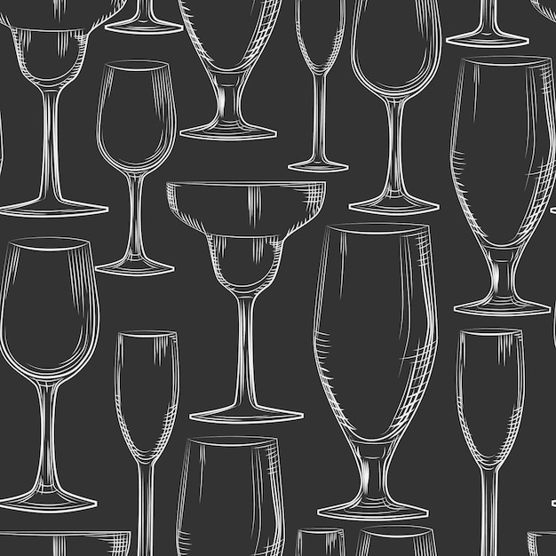 手描きバーガラスのシームレスパターン。 Premiumベクター