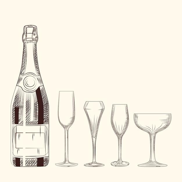 手描きのシャンパンボトルとグラス。白い背景のスタイルを彫刻します。 Premiumベクター
