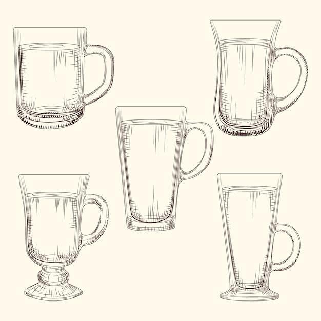 アイリッシュコーヒーマグカップのセット。異なるコーヒーマグ。 Premiumベクター