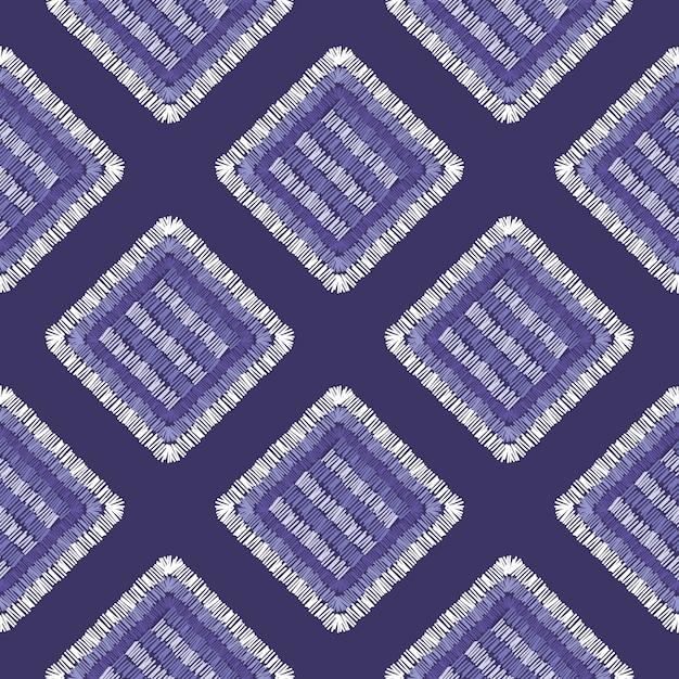 抽象的な刺繍カーペットの幾何学的なタイルのシームレスパターン Premiumベクター