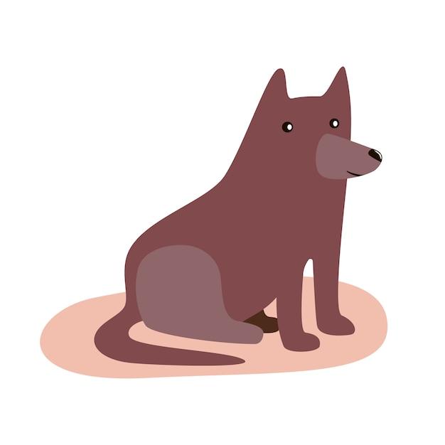 Милый забавный мультфильм коричневые собаки. плоский вектор изолированных иллюстрация Premium векторы