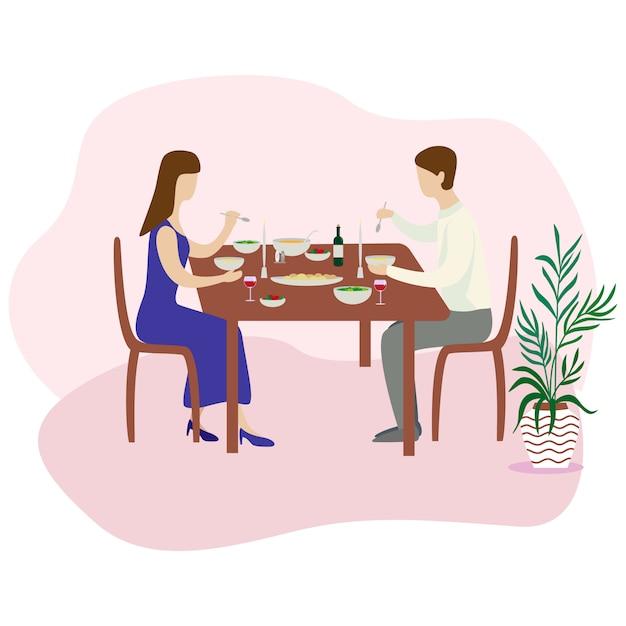 ロマンチックな家族の夕食。バレンタインディナーフラットのベクトル図 Premiumベクター