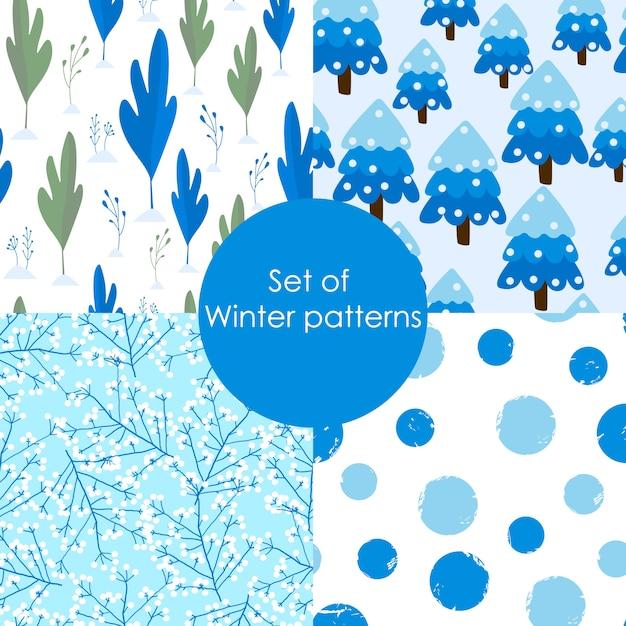 冬のシームレスパターンのセットです。 Premiumベクター