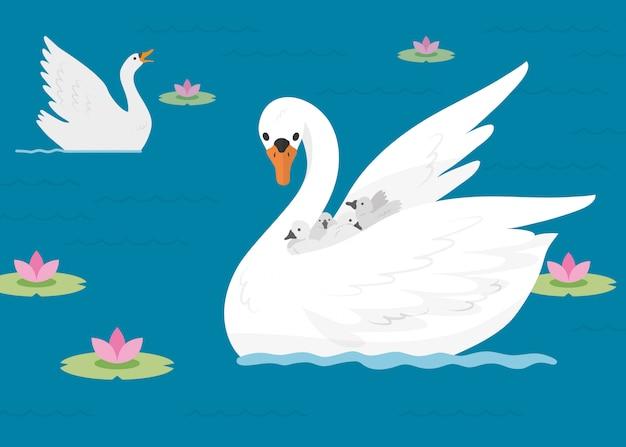 Семья лебедей на озере Premium векторы