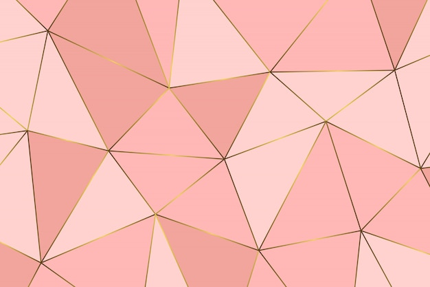 ローズゴールドの幾何学的抽象模様 Premiumベクター