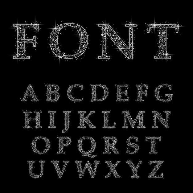 金の文字、アルファベットフォントベクトル Premiumベクター