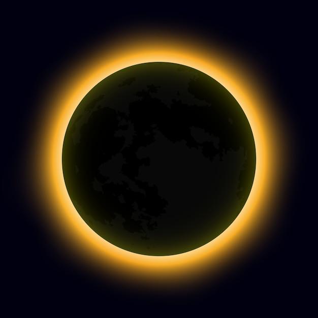 皆既日食、皆既日食。ベクトルイラスト Premiumベクター