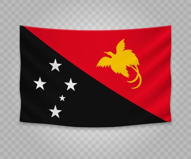 パプアニューギニアのリアルなハンギングフラグ Premiumベクター