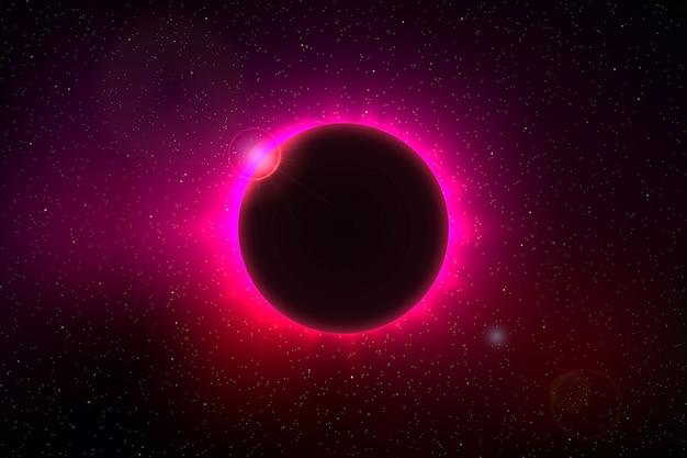 Космический фон с полным солнечным затмением Premium векторы