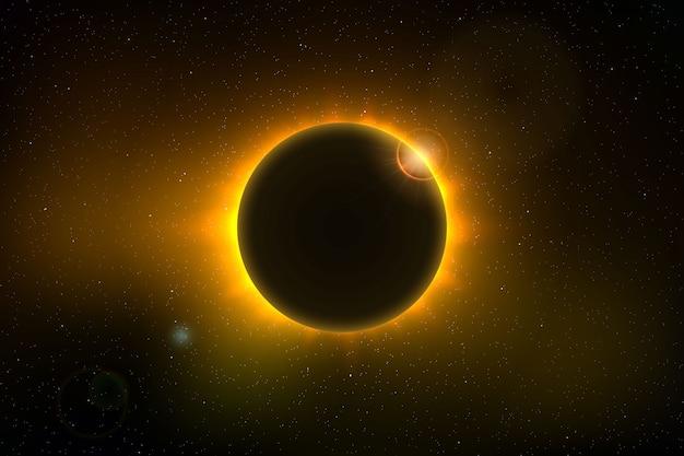 皆既日食のある宇宙背景 Premiumベクター