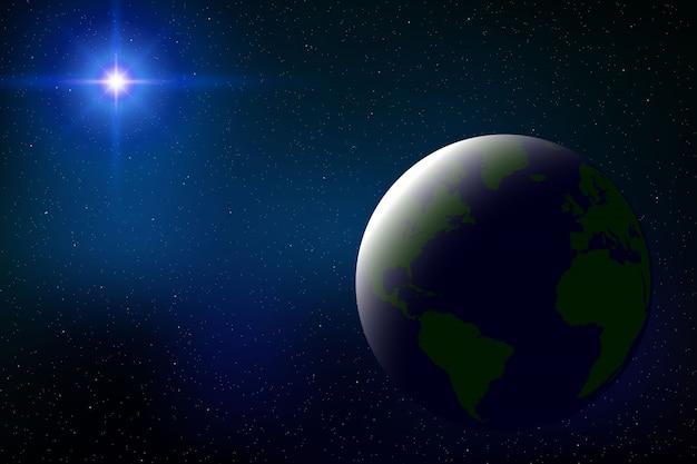 Космический фон с полным солнечным затмением для вашего дизайна Premium векторы