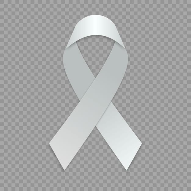 空白の白いリボン。意識のシンボルのテンプレートです。 Premiumベクター