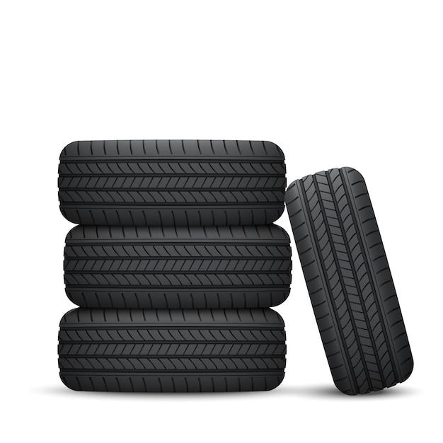 Реалистичная автомобильная шина Premium векторы