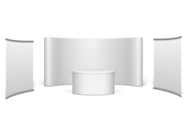 Белый пустой стенд выставки Premium векторы