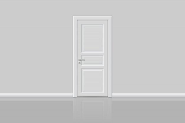 Закрытая реалистичная дверь изолирована Premium векторы