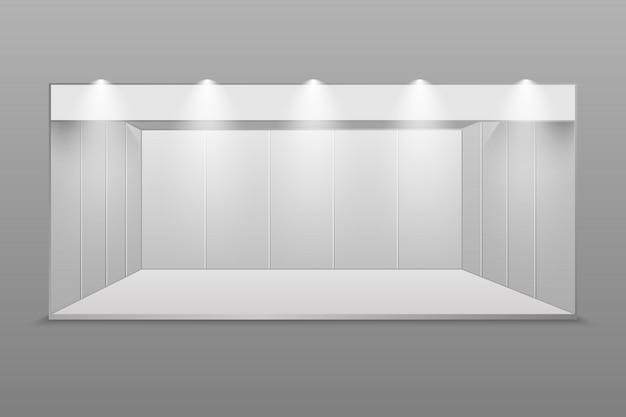 Белый пустой выставочный стенд. Premium векторы