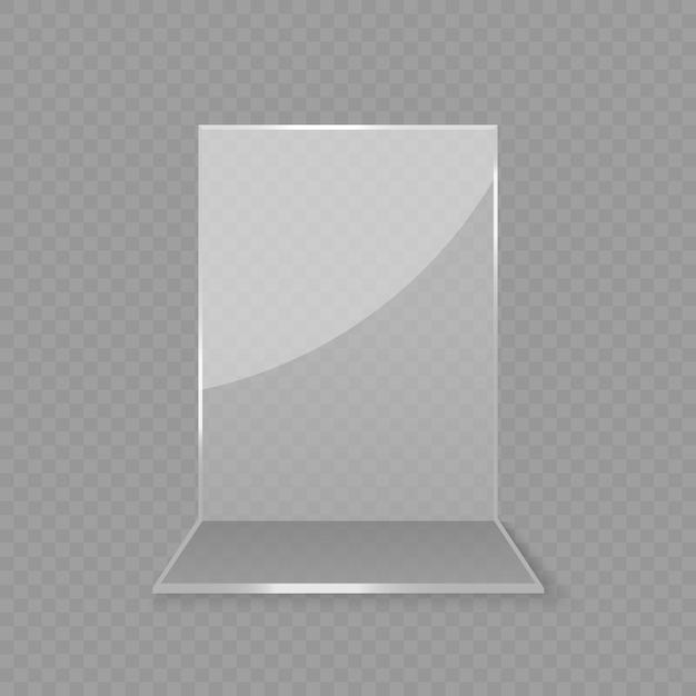 アクリルガラス製テーブルカードディスプレイ Premiumベクター