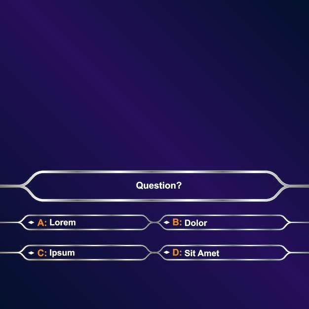 Кто хочет быть миллионером?. интеллектуальный игровой шаблон фона Premium векторы