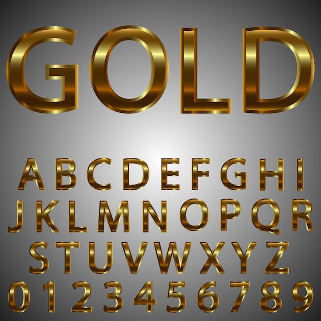 金属ゴールド効果の文字と数字。 Premiumベクター