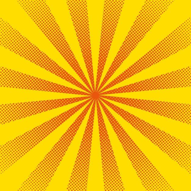 Яркие солнечные лучи с желтыми точками Premium векторы