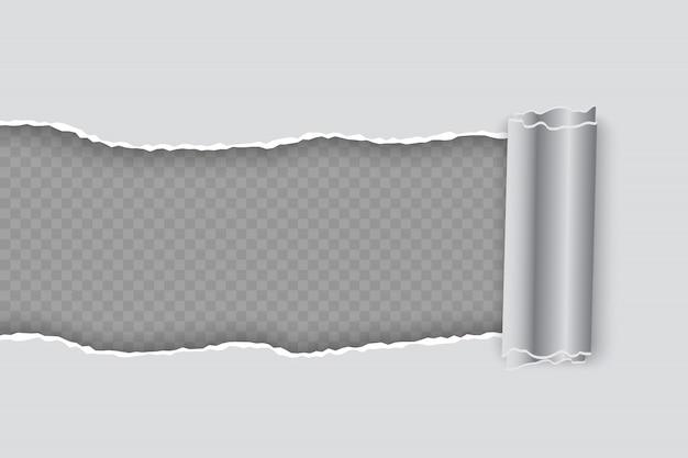 透明な背景にロールエッジを持つベクトル現実的な破れた紙 Premiumベクター