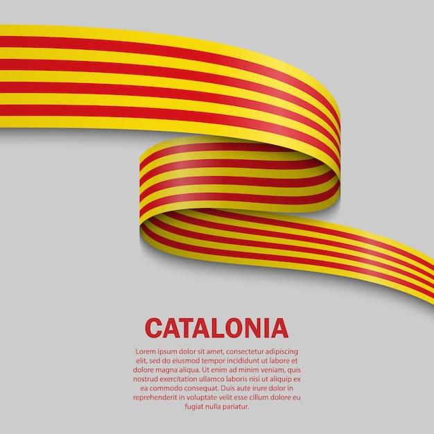 Развевающийся флаг каталонии шаблон Premium векторы