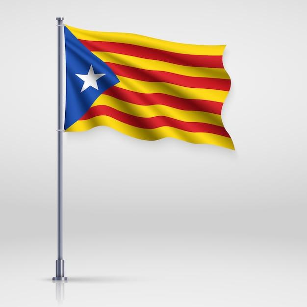 Развевающийся флаг каталонского независимого Premium векторы