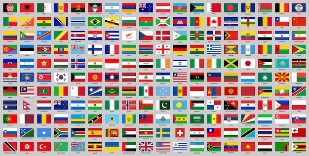 Все страны национальные флаги Premium векторы