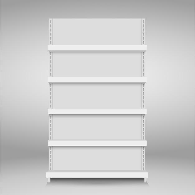 白い空ベクトル店の棚。小売棚スーパーマーケットスタンド Premiumベクター
