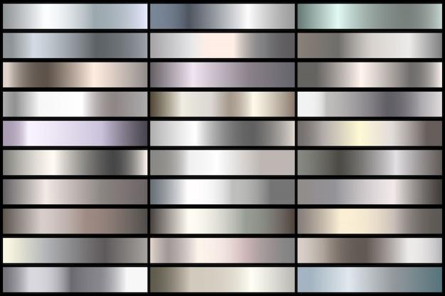 リアルな銀のグラデーションのセットです。境界線、フレーム、リボンデザインのベクトル金属コレクション。 Premiumベクター