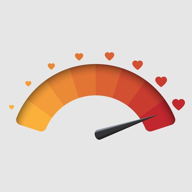 愛メーター、バレンタインデーの背景。ベクトルイラスト Premiumベクター