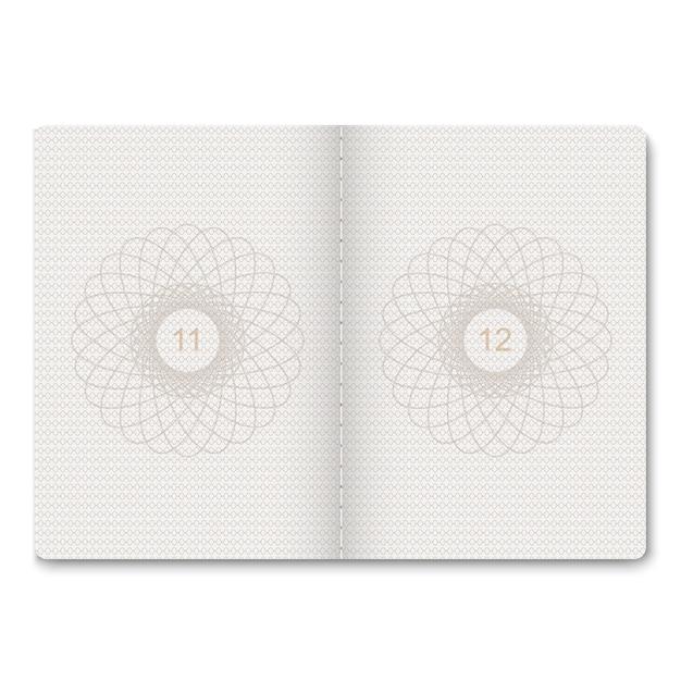 切手のための現実的なパスポート空白ページ。透かしを持つ空のパスポート。 Premiumベクター