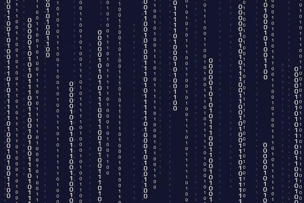 ストリーミングバイナリコードの背景。数字とサイバーパターン Premiumベクター
