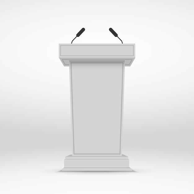 Спикер подиум. белая трибуна трибуны с микрофонами. Premium векторы