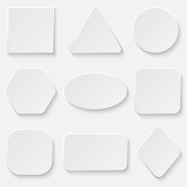 白い正方形と丸いボタンバナーセット。 Premiumベクター