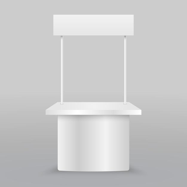 Пустой рекламный прилавок. розничный торговый стенд изолирован Premium векторы