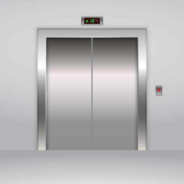 現実的な金属製オフィスエレベーターのエレベーターの扉。 Premiumベクター