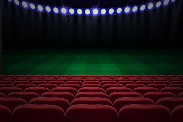Ряды красных мест на футбольном стадионе. футбольный фон Premium векторы