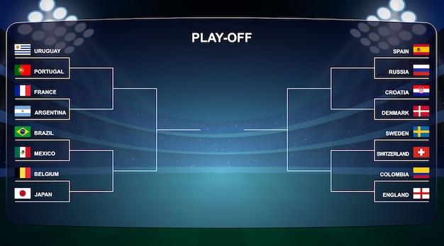 フットボールカップ、プレーオフトーナメントブラケットベクトルイラスト Premiumベクター