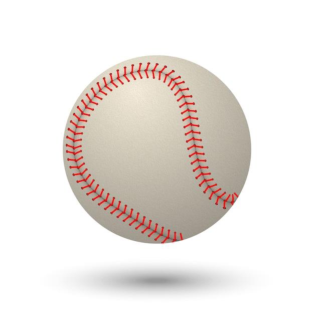 Реалистичные бейсбольный мяч, изолированные на белом фоне. Premium векторы