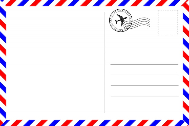 Реалистичная винтажная открытка с красной и синей каймой Premium векторы