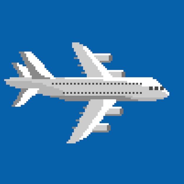 Пиксель самолет в векторе Premium векторы